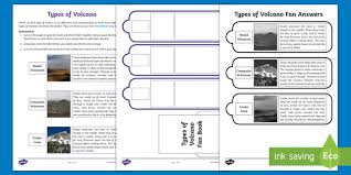 sheet types types of volcano fan book worksheet activity sheet shield