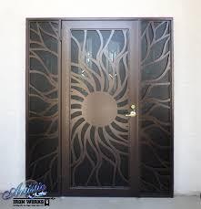 Patio Door Security Gate For Residential Applications Custom Cnc Plasma Cut Iron Screen Sunburst Security Door Wrought