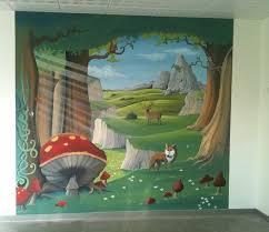 fresque murale chambre bébé fresque murale au decor foret enchantee animaux peint sur mur