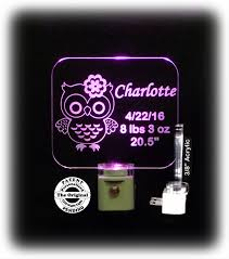 baby engraved gifts personalized baby gift owl led light with birth information