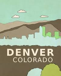 denver visitors bureau denver print illustration 8x10 mountain city buildings
