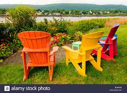 Adirondack Chair Colors Nova Scotia Annapolis Royal Colorful Adirondack Chairs In Park