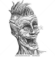 vector illustration hand drawn scary zombie stock vector 464782184