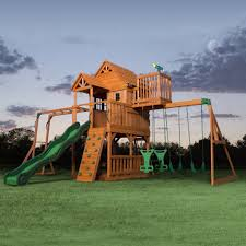 How To Build A Wooden Playset Skyfort Ii Wooden Swing Set Playsets Backyard Discovery