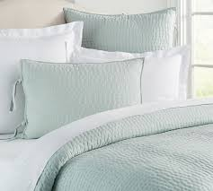 turquoise quilted coverlet pick stitch handcrafted quilt sham pottery barn