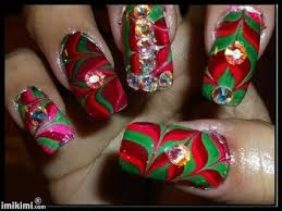 christmas water marble nail art design youtube