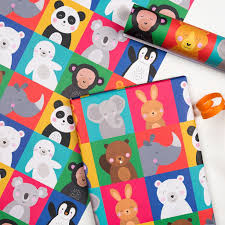 kids wrapping paper animal friends wrapping paper 5 sheets dotcomgiftshop