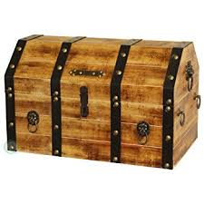 vintiquewise tm large wooden pirate lockable trunk