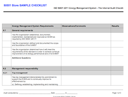 iso 50001 internal auditor checklist 50001 store