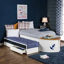 furniture of america capitaine boat twin bed with trundle and