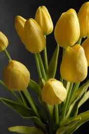 tulips flowers touch silk flower mini yellow tulips bouquet 15