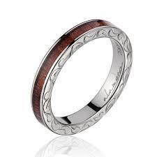 3mm ring penelope titanium ring with genuine koa wood inlay and
