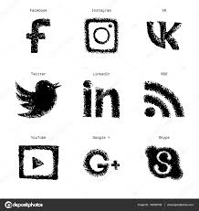 hand drawn sketch social media web icons set u2014 stock vector