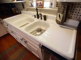 vintage cast iron sink drainboard white wooden storage cabinet with double cast iron sink and