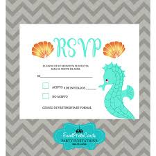 Party Invitations With Rsvp Cards Under The Sea Theme Rsvp Turquoise Orange