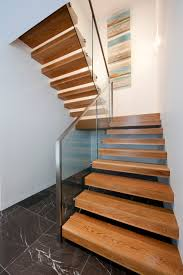Glass Stair Rail by American Oak Stained Timber Boxed Stair Stainless Steel