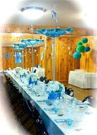 elegant baby shower table with umbrella centerpieces baby boy