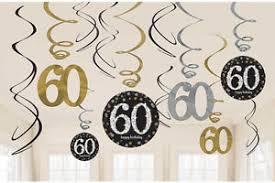 60th birthday party decorations 12 x 60th birthday hanging swirls black silver gold party