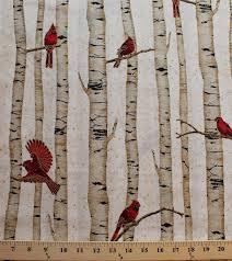 cotton woodsy winter cardinals birds on birch trees metallic