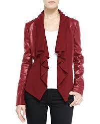 Neiman Marcus Drapes Bagatelle Ruffled Front Drape Mixed Media Leather Jacket