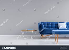 Interior Blue Grey Room Blue Couch Bench Side Stock Photo 583333897 Shutterstock