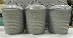 enamel retro kitchen canisters white blue grey tea coffee