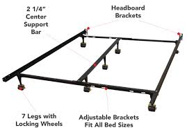 Casters For Bed Frame Alwyn Home Heavy Duty Adjustable Metal Bed Frame With Double Rail