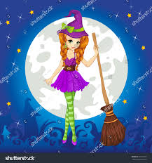 fashion halloween background pictures beautiful witch broom standing on halloween stock vector 325212335
