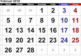 Kalender 2018 Hamburg Feiertage Kalender Februar 2018 Zum Ausdrucken Pdf Excel Word Kalender