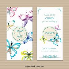 wedding invitations freepik wedding invitation with painted butterflies vector free
