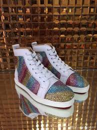 2016 new fashion high top multicolored glitter red bottom shoes