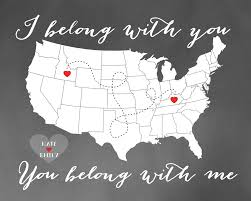 Personalized World Map by I Belong With You You Belong With Me Custom Map Gift Personalized