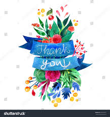 beautiful floral thank you card bright stock vector 296357972