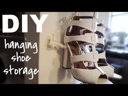 shoe rack hanging diy hanging shoe storage youtube