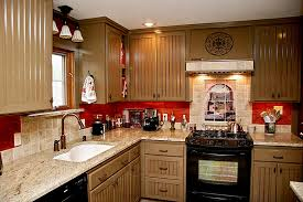 best chef themed kitchen design with beige cabinet and white