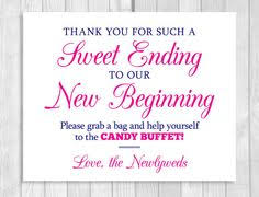 Wedding Buffet Signs by Sweet Ending To Our New Beginning 8x10 Printable Wedding Candy