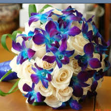 blue and purple orchids stunning blue and purple wedding bouquets photos styles ideas