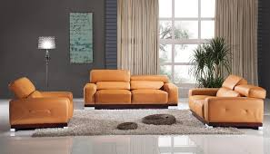 Orange Living Room Set Soft Orange Leather Set With Grey Wall Color For Impressive Living