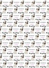 pug wrapping paper personalised pug birthday wrapping paper pug with two tags