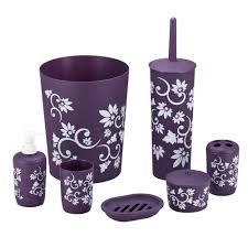 amazon com durable 7 piece printed bathroom set in purple home