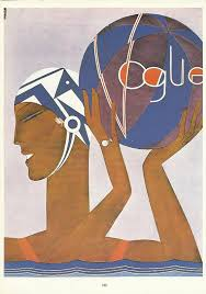 vogue magazine cover water polo swim hat ball 1927 fashion