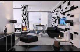 Enchanting  Living Room Decorating Ideas Red Black White Design - Interior design black and white living room