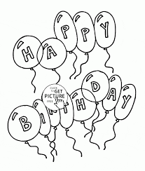 happy birthday balloons with letters coloring page for kids