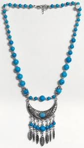 bead necklace with pendant images Blue bead necklace with metal pendant jpg