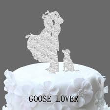 wedding cake sederhana sederhana akrilik pengantin dengan anjing wedding cake topper