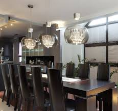contemporary pendant lighting dining room with story built in