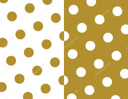 seamless polka dots wallpaper background set in gold and white