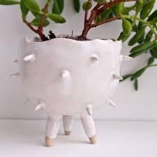 handmade white spiky cactus planter plant pot by kabinshop