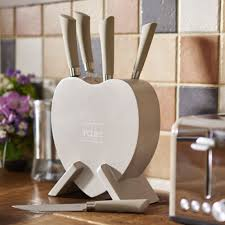 indulje knife block set heart shaped 5 piece at wilko com