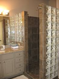 Shower Wall Ideas by Custom Walk In Shower With No Door And Glass Block For Extra Light